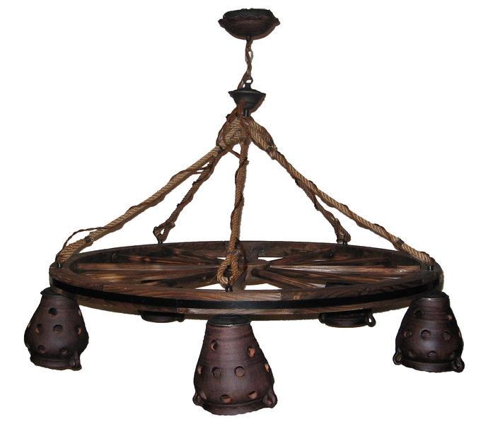 L mpara techo 5 luces rueda carro nogal rustiluz - Como hacer una lampara rustica ...