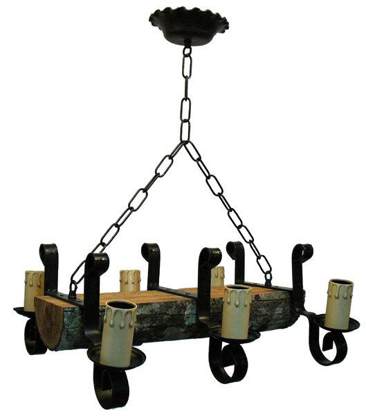 L mpara con tronco y forja 6 luces rustiluz - Lamparas para techos con vigas de madera ...