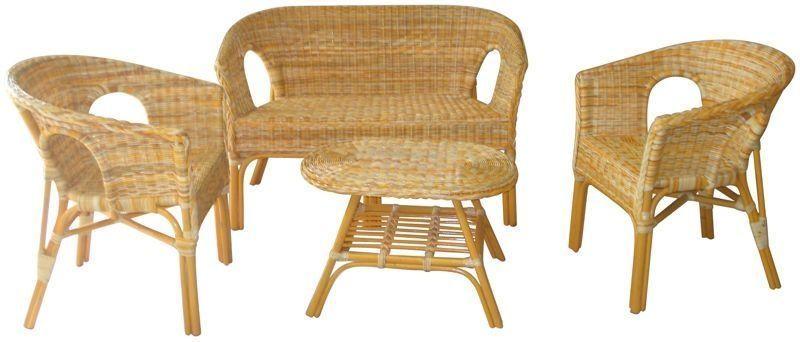 Juego sofa sillones y mesa rattan natural rustiluz for Sofas y sillones a juego